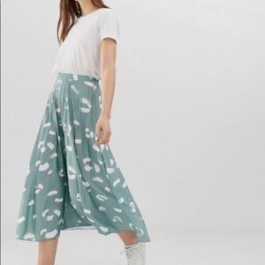 ASOS Pleated Brush Stroke Midi Skirt
